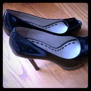 enzo angiolini platform heels with peep toe.